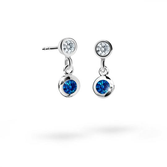 Children's earrings Danfil C1537 White gold, Dark Blue, Butterfly backs