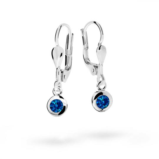 Children's earrings Danfil C1537 White gold, Dark Blue, Leverbacks