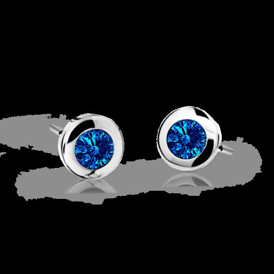 Children's earrings Danfil C1537 White gold, Dark Blue, Screw backs