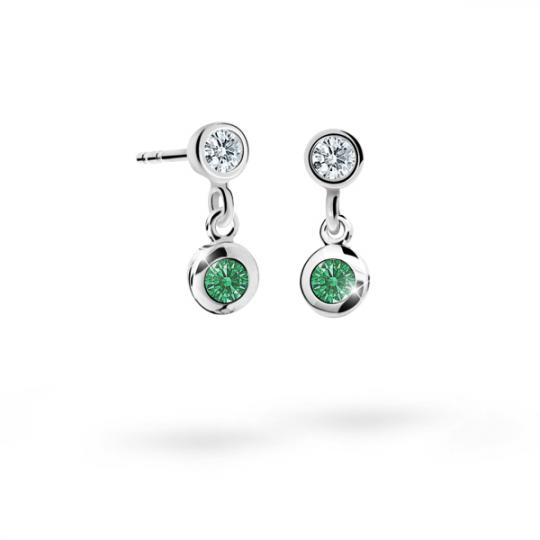 Children's earrings Danfil C1537 White gold, Emerald Green, Screw backs