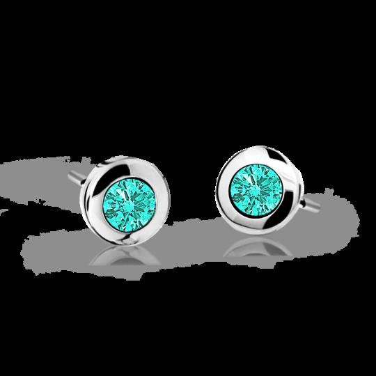 Children's earrings Danfil C1537 White gold, Mint Green, Butterfly backs
