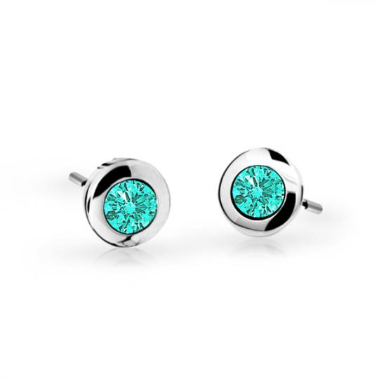 Children's earrings Danfil C1537 White gold, Mint Green, Screw backs