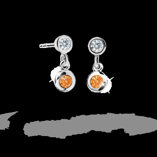 Children's earrings Danfil C1537 White gold, Orange, Butterfly backs