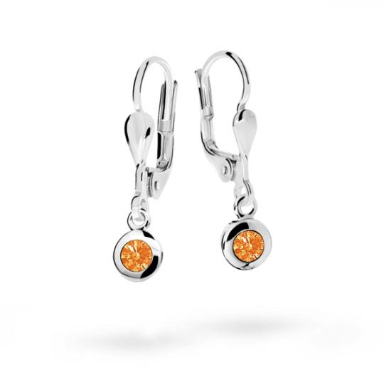 Children's earrings Danfil C1537 White gold, Orange, Leverbacks
