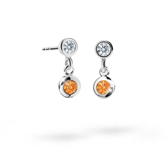 Children's earrings Danfil C1537 White gold, Orange, Screw backs