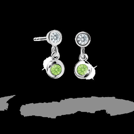 Children's earrings Danfil C1537 White gold, Peridot Green, Butterfly backs