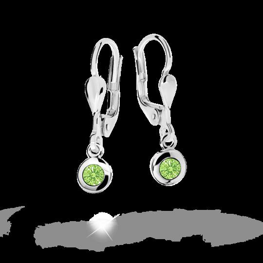 Children's earrings Danfil C1537 White gold, Peridot Green, Leverbacks