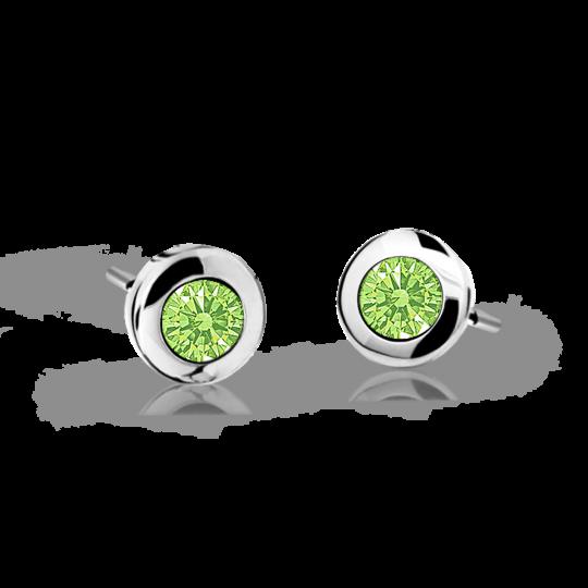 Children's earrings Danfil C1537 White gold, Peridot Green, Screw backs