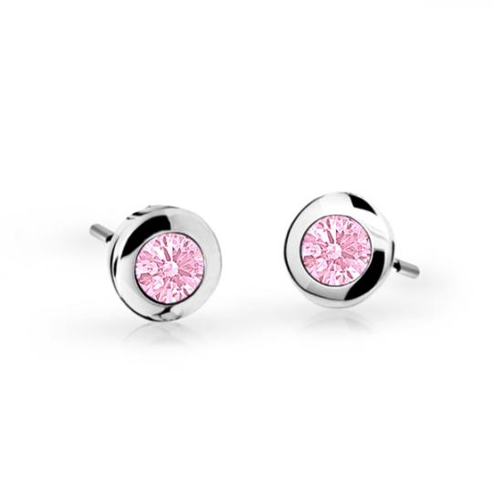 Children's earrings Danfil C1537 White gold, Pink, Butterfly backs