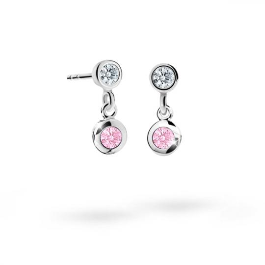 Children's earrings Danfil C1537 White gold, Pink, Screw backs