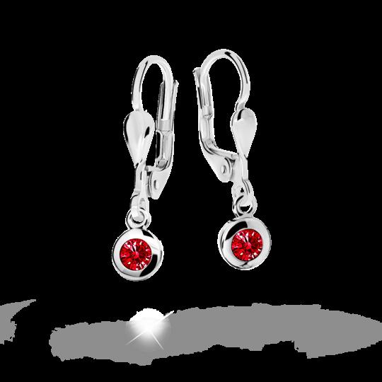 Children's earrings Danfil C1537 White gold, Ruby Dark, Leverbacks