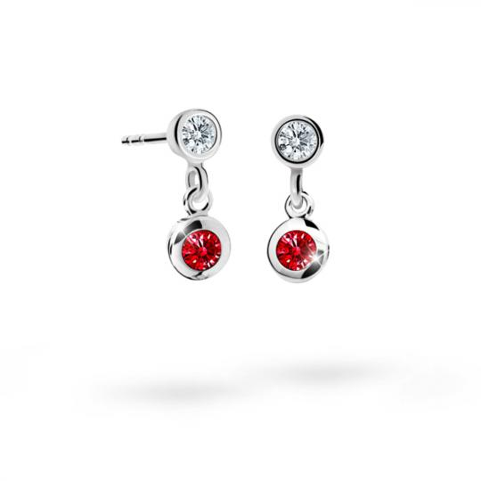Children's earrings Danfil C1537 White gold, Ruby Dark, Screw backs