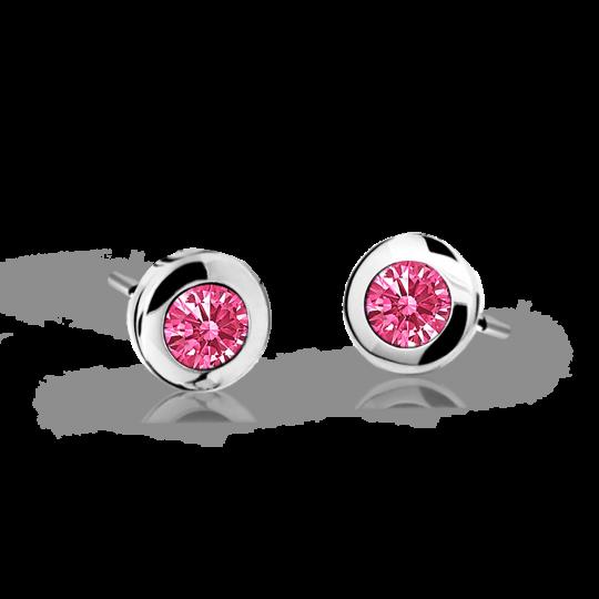 Children's earrings Danfil C1537 White gold, Tcf Red, Butterfly backs
