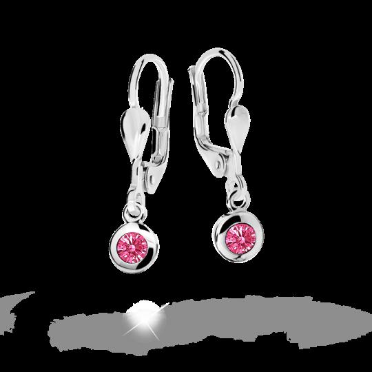Children's earrings Danfil C1537 White gold, Tcf Red, Leverbacks