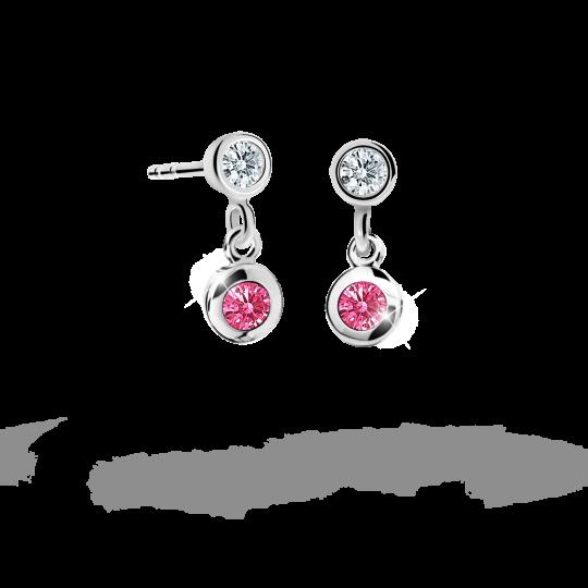 Children's earrings Danfil C1537 White gold, Tcf Red, Screw backs