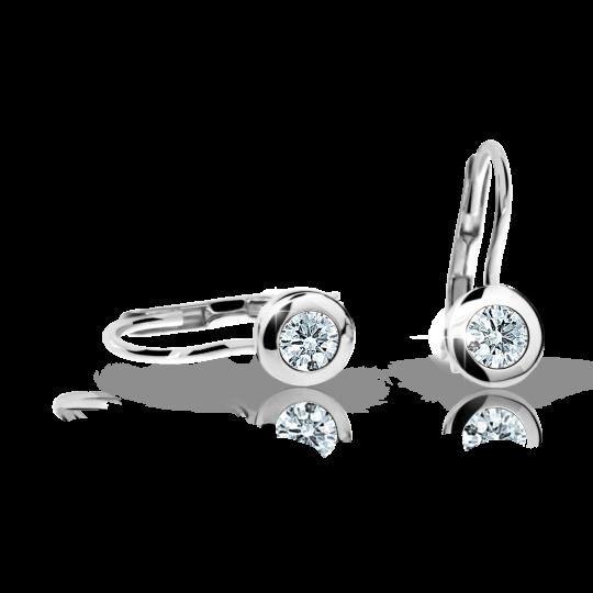 Children's earrings Danfil C1537 White gold, White, Leverbacks