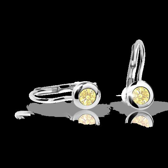 Children's earrings Danfil C1537 White gold, Yellow, Leverbacks