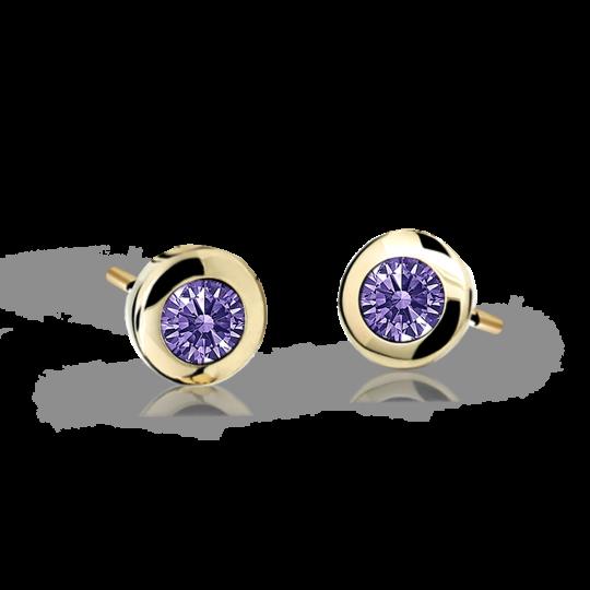 Children's earrings Danfil C1537 Yellow gold, Amethyst, Butterfly backs