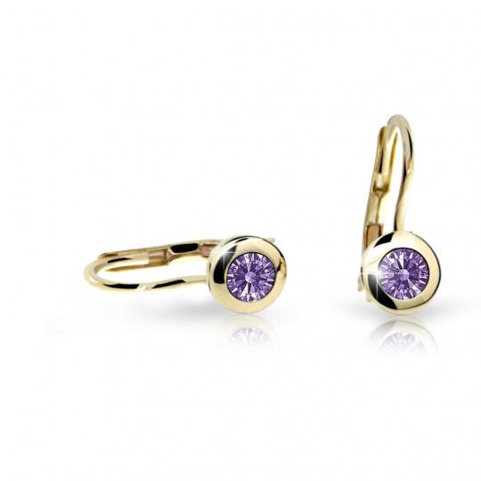 Children's earrings Danfil C1537 Yellow gold, Amethyst, Leverbacks