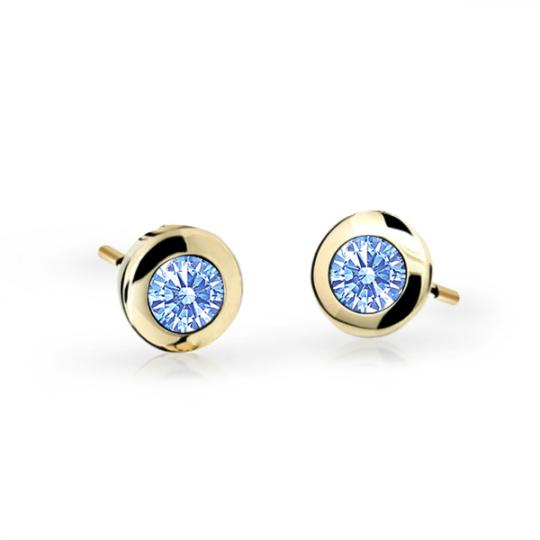 Children's earrings Danfil C1537 Yellow gold, Arctic Blue, Screw backs