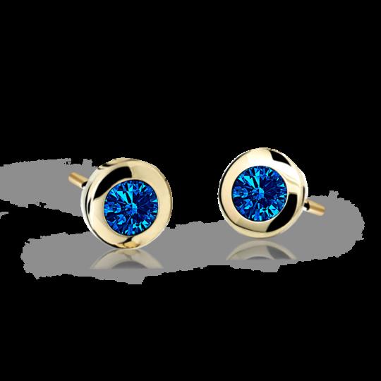 Children's earrings Danfil C1537 Yellow gold, Dark Blue, Butterfly backs