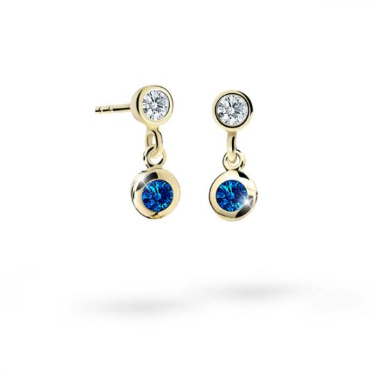 Children's earrings Danfil C1537 Yellow gold, Dark Blue, Butterfly backs