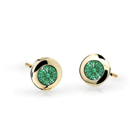 Children's earrings Danfil C1537 Yellow gold, Emerald Green, Butterfly backs
