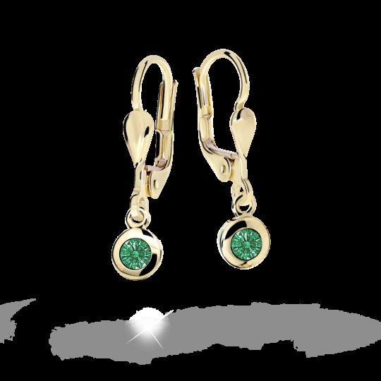 Children's earrings Danfil C1537 Yellow gold, Emerald Green, Leverbacks