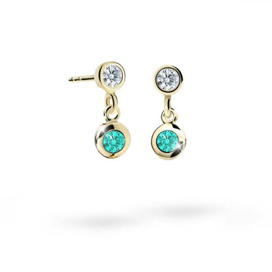 Children's earrings Danfil C1537 Yellow gold, Mint Green, Butterfly backs
