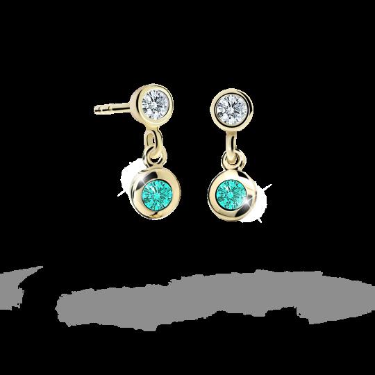 Children's earrings Danfil C1537 Yellow gold, Mint Green, Screw backs
