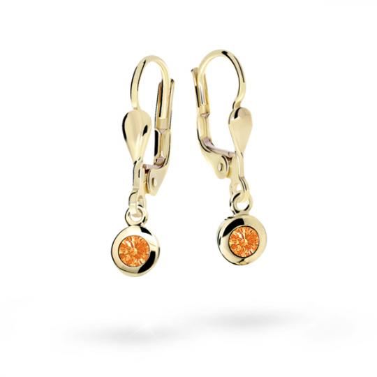 Children's earrings Danfil C1537 Yellow gold, Orange, Leverbacks