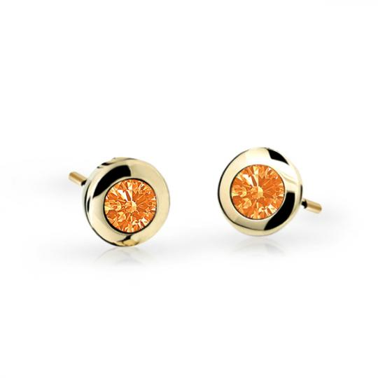 Children's earrings Danfil C1537 Yellow gold, Orange, Screw backs
