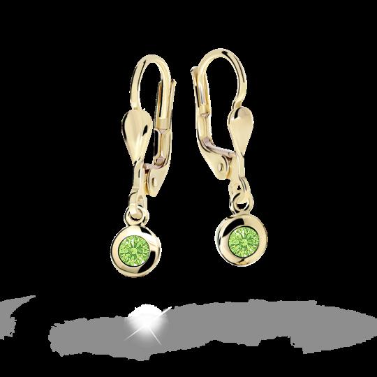 Children's earrings Danfil C1537 Yellow gold, Peridot Green, Leverbacks