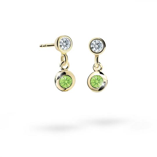 Children's earrings Danfil C1537 Yellow gold, Peridot Green, Screw backs