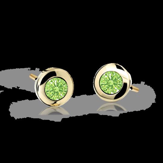 Children's earrings Danfil C1537 Yellow gold, Peridot Green, Screw backs