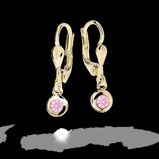 Children's earrings Danfil C1537 Yellow gold, Pink, Leverbacks