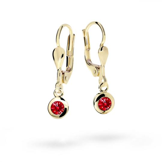 Children's earrings Danfil C1537 Yellow gold, Ruby Dark, Leverbacks