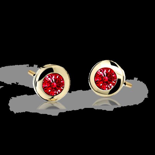 Children's earrings Danfil C1537 Yellow gold, Ruby Dark, Screw backs