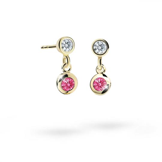 Children's earrings Danfil C1537 Yellow gold, Tcf Red, Screw backs