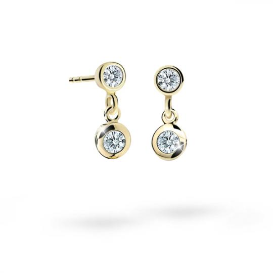 Children's earrings Danfil C1537 Yellow gold, White, Butterfly backs
