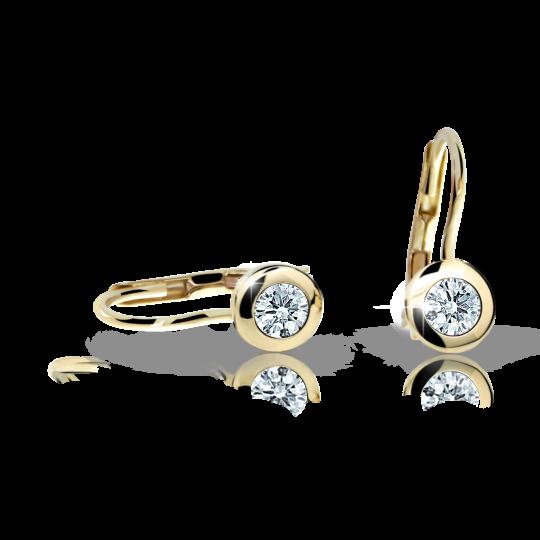 Children's earrings Danfil C1537 Yellow gold, White, Leverbacks
