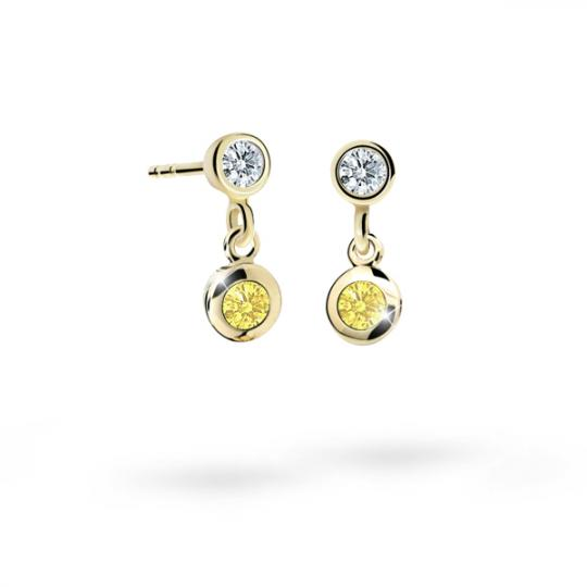 Children's earrings Danfil C1537 Yellow gold, Yellow, Butterfly backs