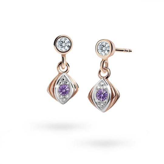 Children's earrings Danfil C1897 Rose gold, Amethyst, Butterfly backs