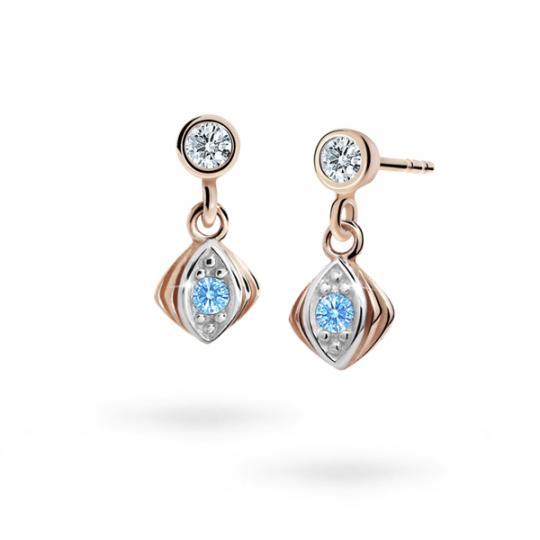 Children's earrings Danfil C1897 Rose gold, Arctic Blue, Butterfly backs