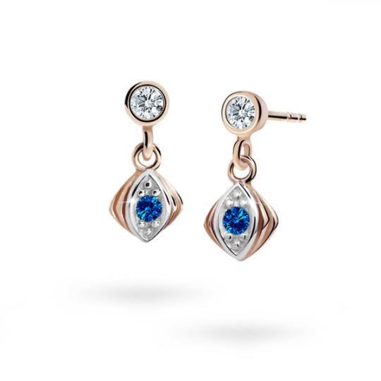 Children's earrings Danfil C1897 Rose gold, Dark Blue, Butterfly backs