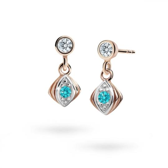 Children's earrings Danfil C1897 Rose gold, Mint Green, Butterfly backs