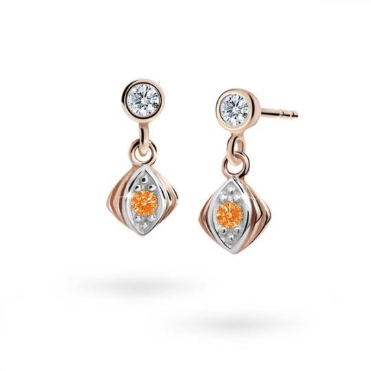 Children's earrings Danfil C1897 Rose gold, Orange, Butterfly backs