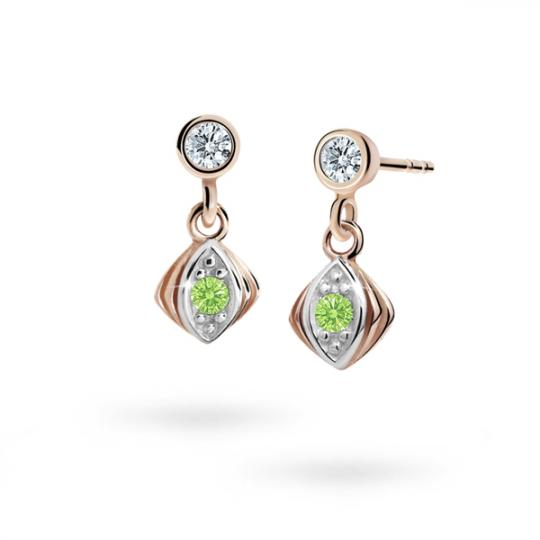 Children's earrings Danfil C1897 Rose gold, Peridot Green, Butterfly backs