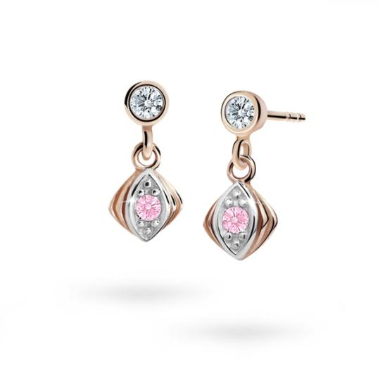 Children's earrings Danfil C1897 Rose gold, Pink, Butterfly backs