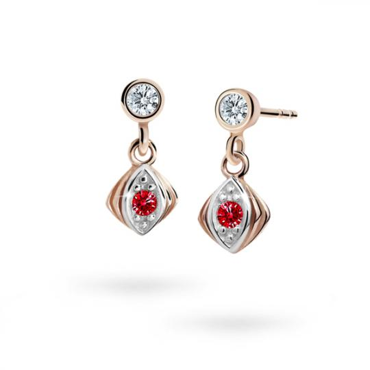 Children's earrings Danfil C1897 Rose gold, Ruby Dark, Butterfly backs